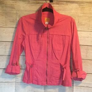 RUBY RD PINK ZIP UP LIGHT JACKET SIZE 8
